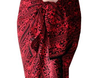Batik Sarong Wrap Pareo Beach Sarong Womens Clothing Black Skirt Sarong ~ Beach Cover Up Black & Red Beach Sarong Long Wrap Skirt - Swimwear