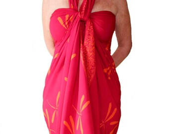 Dragonfly Beach Sarong Women's Clothing Batik Sarong Pareo Wrap Skirt or Dress - Raspberry Pink & Orange Sarong Dress - Swimsuit Cover Up