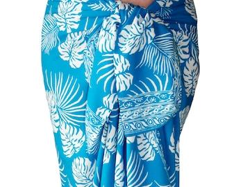 Beach Sarong Pareo Womens Clothing - Sky Blue Hawaiian Beach Wedding Dress Jungle Leaf Batik Sarong Beach Cover Up - Batik Sarong Wrap Skirt
