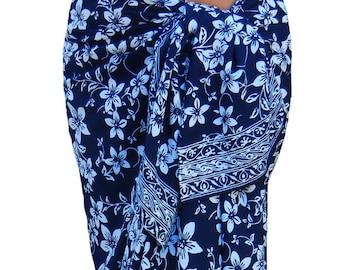 Plumeria Beach Sarong Skirt Batik Pareo Women's Clothing Wrap Skirt Beach Skirt or Dress Batik Sarong Cover Up - Navy Blue & White Pareo