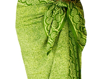 Beach Sarong Wrap Skirt Chartreuse Green Beach Cover Up - Batik Pareo Swimsuit Cover Up - Spiral Motif Beach Sarong - Surfer or Swimmer Gift