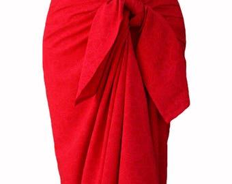 Red Beach Sarong Skirt Sarong Pareo Wrap Skirt Beach Coverup Women's Clothing Batik Pareo Spa Wrap Batik Sarongs Surfer Gift