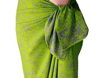 Beach Sarong Womens or Mens Clothing Batik Sarong Pareo Wrap Skirt Beach Coverup Lime Green & Purple Sarong Batik Pareo Swimsuit Wrap Skirt