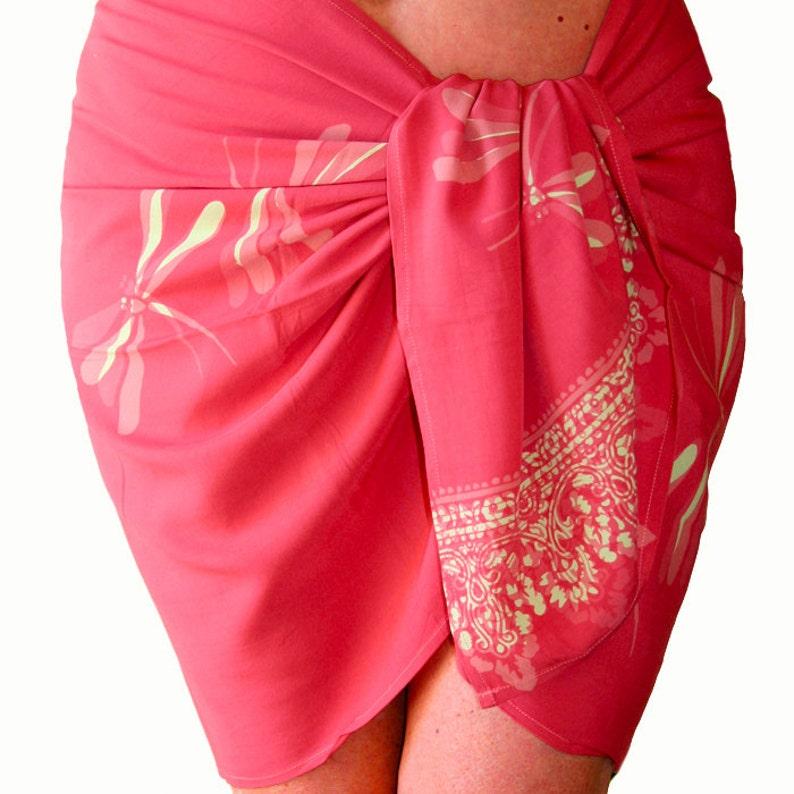 11d5b29bbb696 Dragonfly Beach Sarong Pareo Wrap Skirt Womens Clothing Batik | Etsy