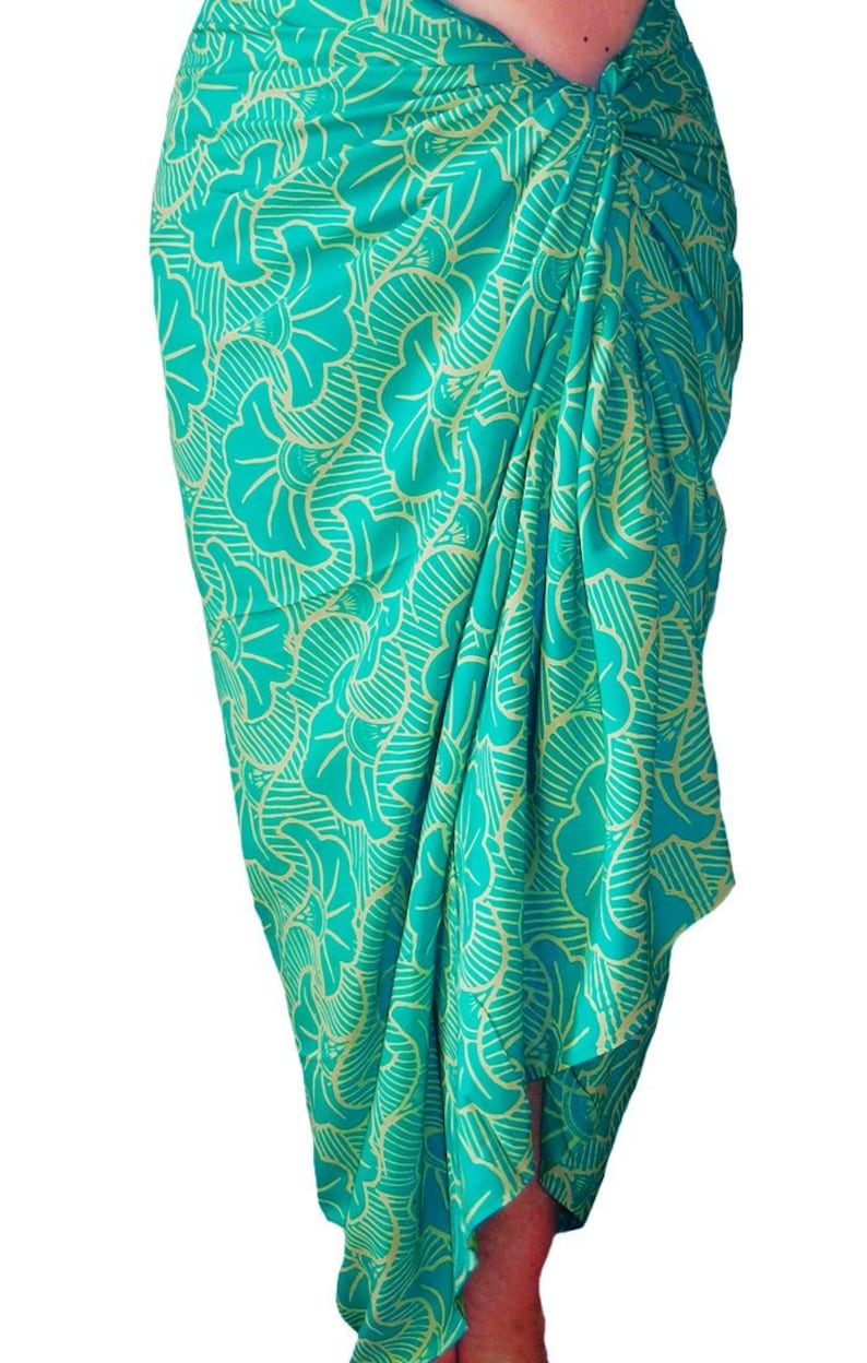 97dcd76f23 Beach Sarong Wrap Skirt Womens or Mens Clothing Swimwear Aqua | Etsy