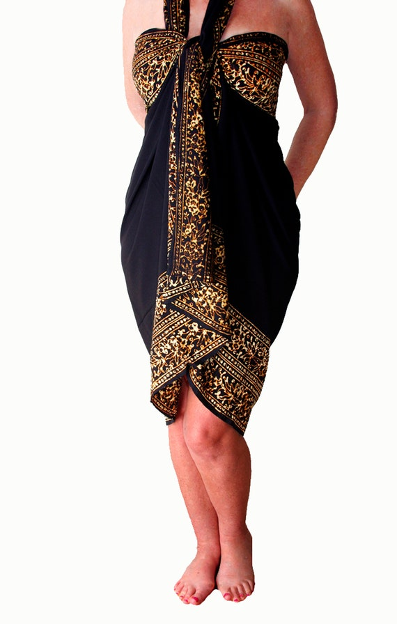 PLUS Size Clothing 3x 4x 5x Beach Sarong Plus Size - EXTRA LONG Black &  Golden Brown Sarong Dress or Skirt - Plus Beach Cover Up