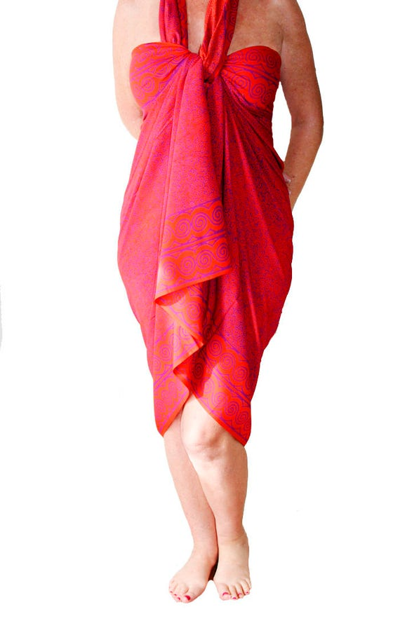 PLUS SIZE Clothing Beach Sarong Wrap Skirt or Dress Plus Size Swimsuit Cover Up Extra Long Orange & Purple Spiral Pareo Plus Size Cover Up