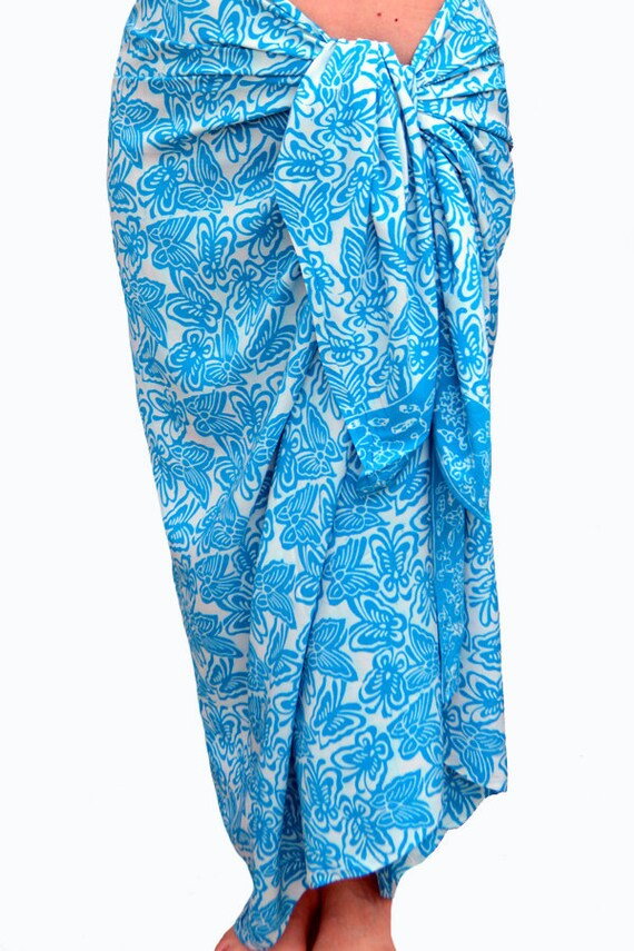 Butterfly Beach Sarong Wrap Skirt Womens Clothing Beach Cover Up Batik Pareo Blue & White Sarong Beachwear Swimsuit Cover Up