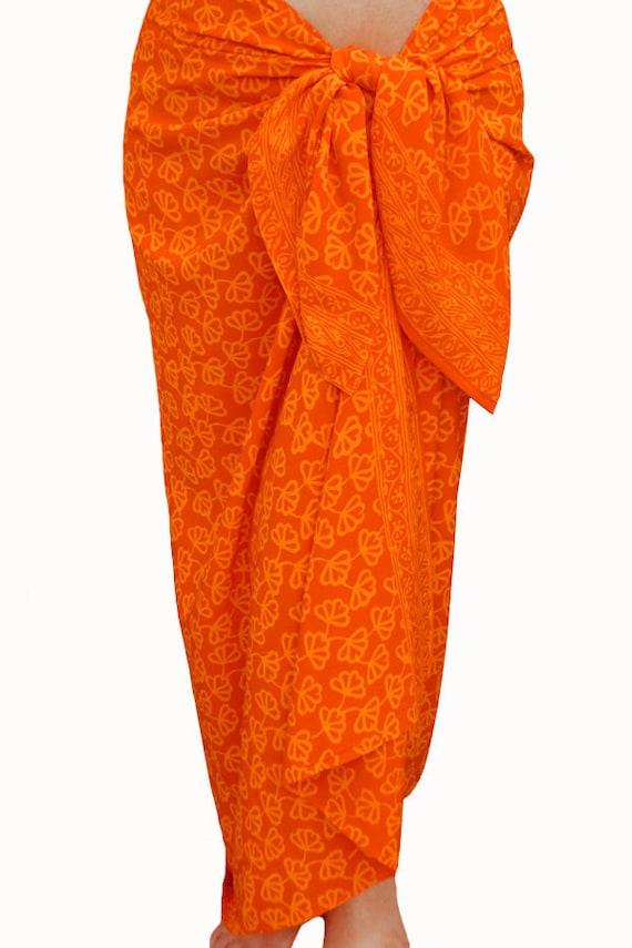 Orange Beach Sarong Wrap Skirt Batik Sarong Beach Cover Up Batik Pareo Swimsuit Cover Up Women's Beachwear Beach Wrap Skirt