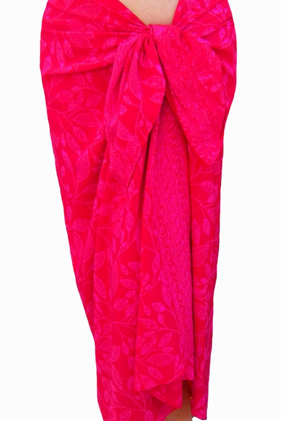 Red Beach Sarong Wrap Skirt Batik Pareo Red & Pink Batik Sarong Beach Swim Cover up Hawaiian Maile Leaf Sarong Women's Beachwear