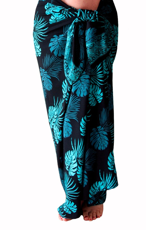 Hawaii Pareo Sarong Blue Turtle// Floral PLUS SIZE Beach Pool Coverup Wrap Dress