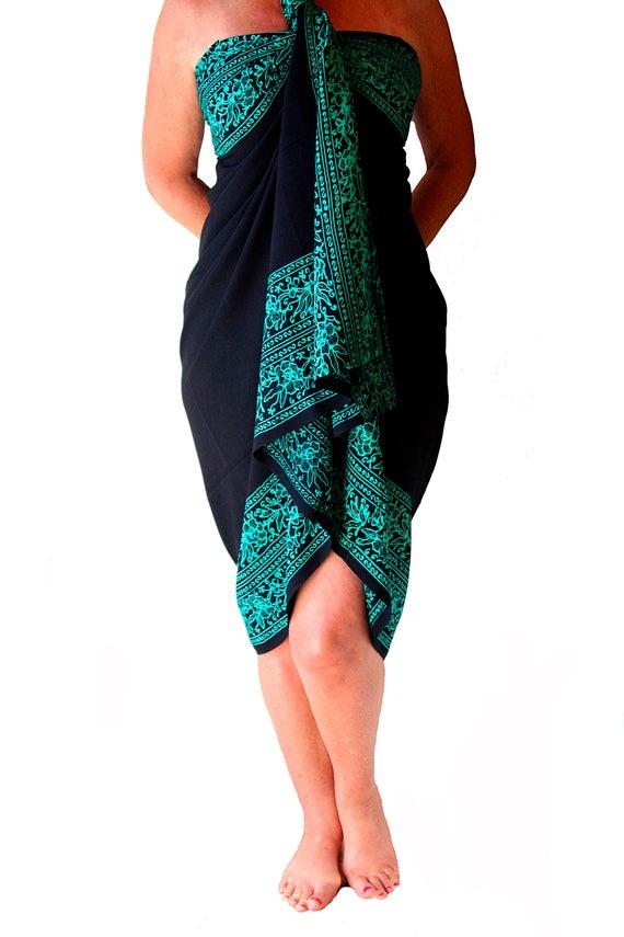 PLUS SIZE Sarong Batik Pareo Beach Sarong Womens Plus Size Clothing Extra Long Black & Teal Green Sarong Dress or Skirt Plus Size Swimwear