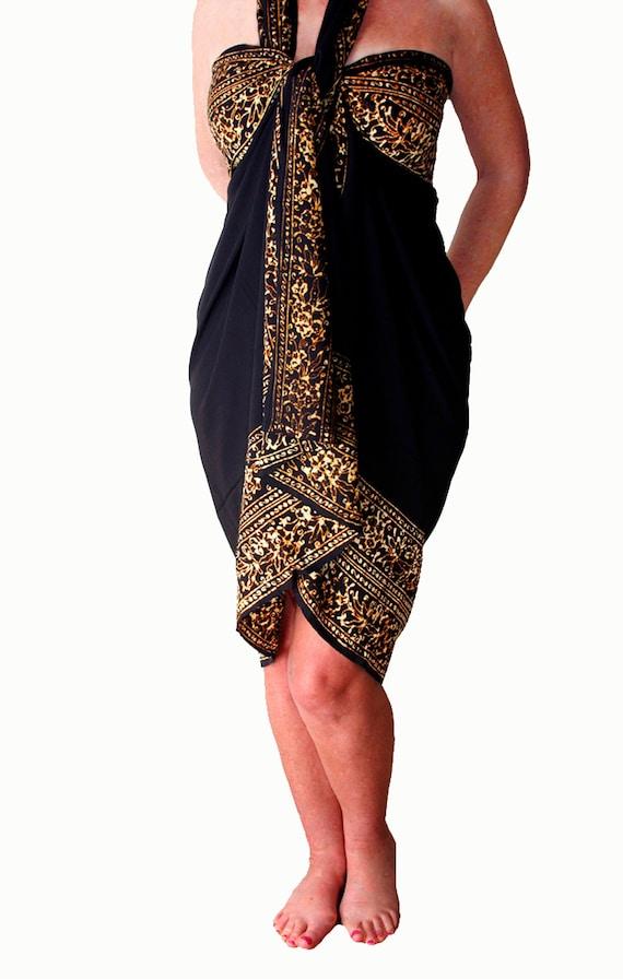 Black Beach Sarong Wrap Skirt or Dress Women's Clothing Black & Golden Brown Sarong Skirt Beach Cover Up Batik Pareo Black Sarong