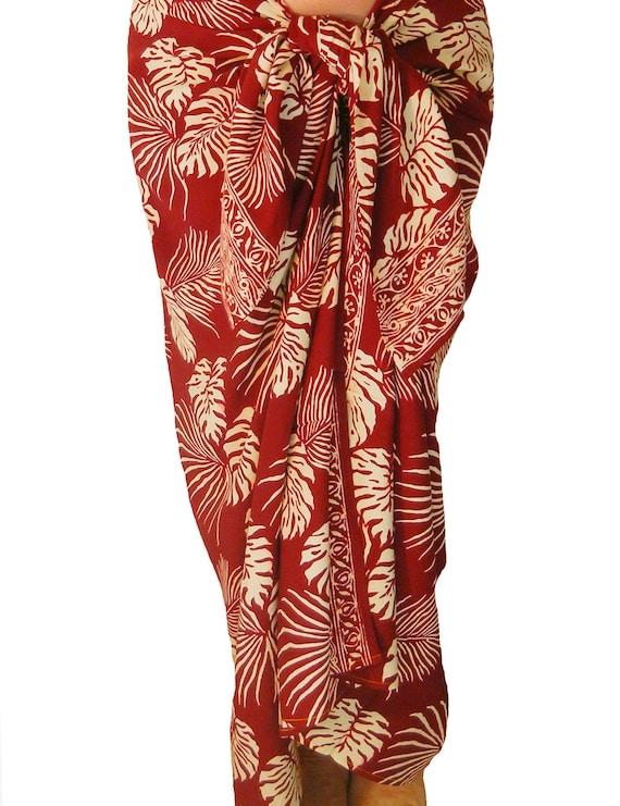 Plus Size 90 to 92 Jungle Leaf Pareo in Cherry Red /& White Hawaiian Sarong Batik Beach Sarong Wrap Skirt or Dress