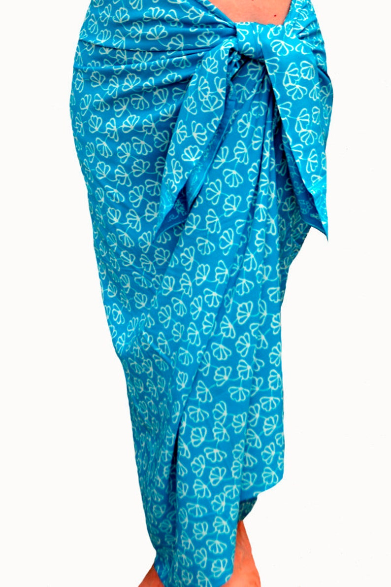 f42551887327a Sky Blue Beach Sarong Wrap Skirt Batik Sarong Beach Cover | Etsy