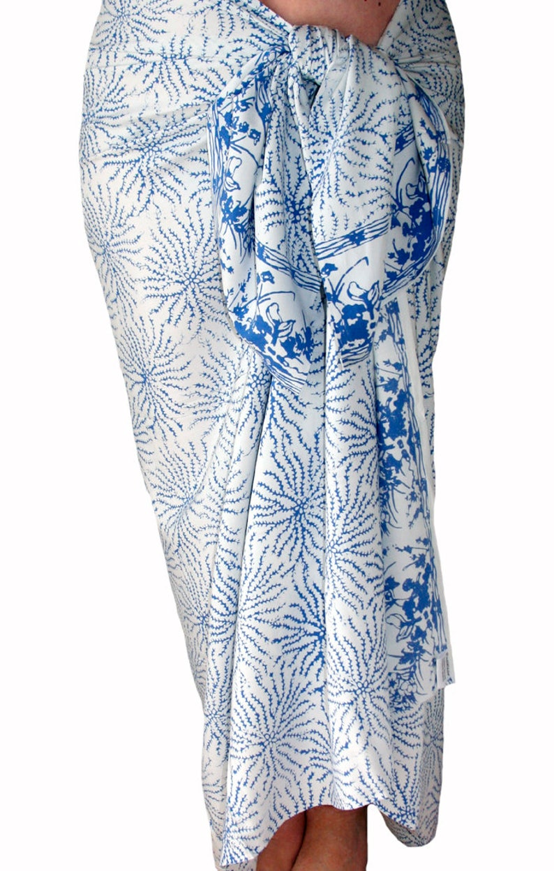 92ef414a4c White Beach Sarong Wrap Skirt Women's or Men's Batik | Etsy