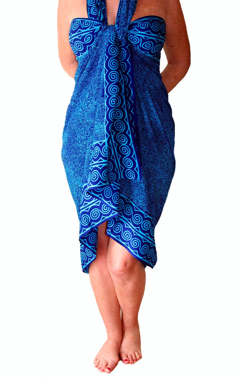 d8454f4da23c1 PLUS SIZE Clothing Beach Sarong Swimsuit Cover Up Blue