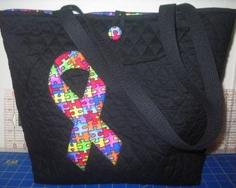 New Black Handmade Autism Awareness Tote Bag