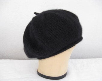 8be9c754a0e7d5 Black Angora and Wool Beret. Accessories. Hand Knit Hat.