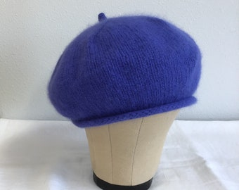 303d45ad Angora and Merino Wool Beret. Accessories. Hand Knit Hat. Violet.