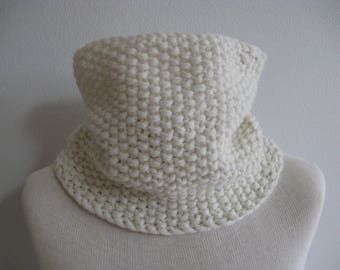 Angora and Wool Neck Warmer. Hand Knit Cowl. Circle Scarf. Winter White or Cream. Accessories.
