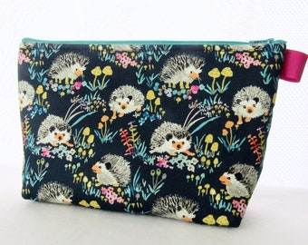 dae2f932cfac0a Cute Happy Hedgehogs Fabric Extra Large Cosmetic Bag Fabric Zipper Pouch  Padded Makeup Bag Toiletry Case Enchanted Forest Betsy Olmsted Navy