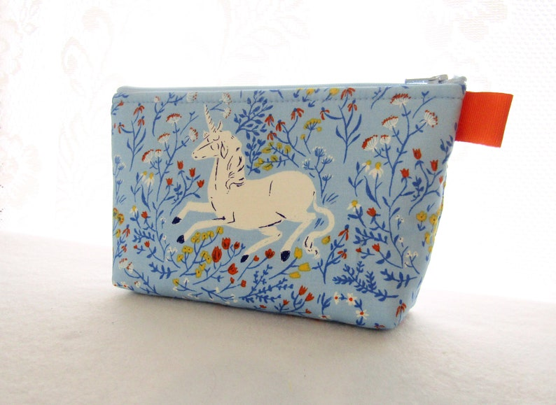 212b5a5cf94b Large Cosmetic Bag Heather Ross Unicorn Fabric Zipper Pouch Padded Makeup  Bag Cotton Zip Pouch Far Far Away Blue Yellow Mother's Day