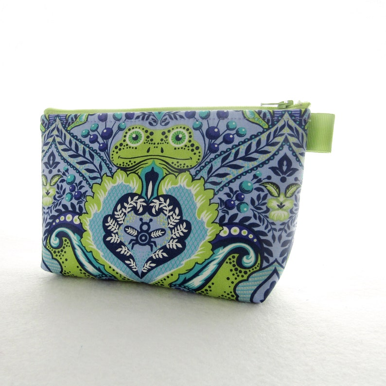 7533b2284a4a Frog Prince Tula Pink Fabric Large Cosmetic Bag Zipper Pouch Padded Makeup  Bag Cotton Zip Pouch All Stars Orchid Blueberry Blue Lime