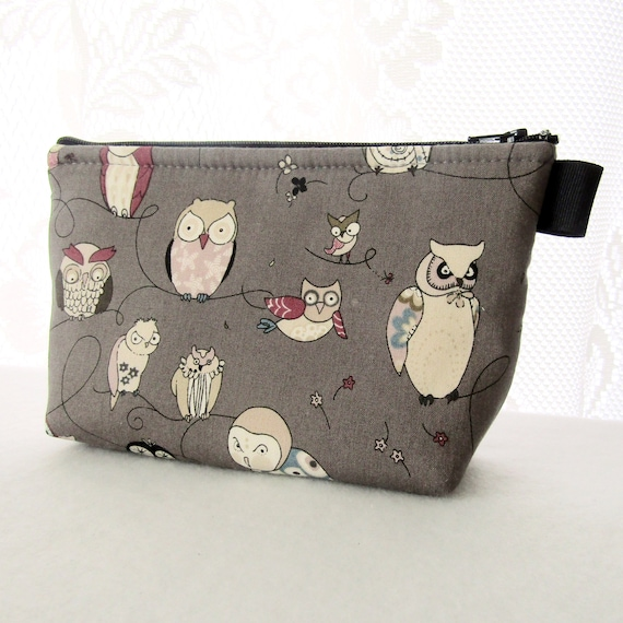 ee7a48b691b9 Spotted Owls Fabric Large Cosmetic Bag Zipper Pouch Padded