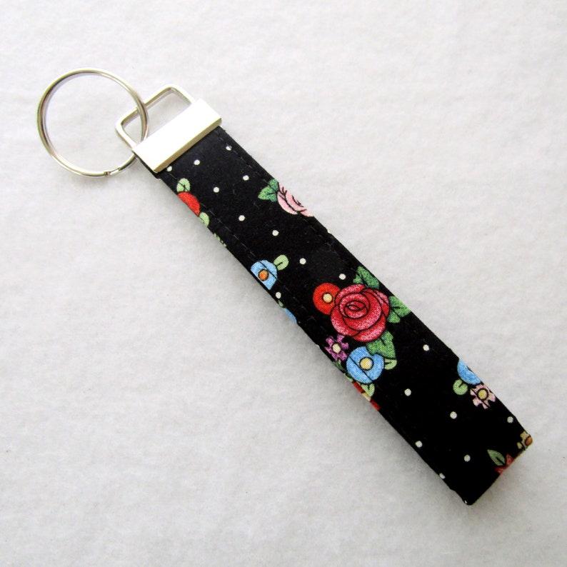 Black Key Chains Cute Key Fobs Fabric Key Wristlet Handmade black white dots