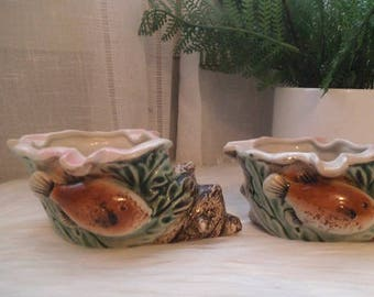 2 Vintage Japan Conch Shell and Fish Ashtrays ~ Tobacciana  ~ Glazed Porcelain Beach Cottage