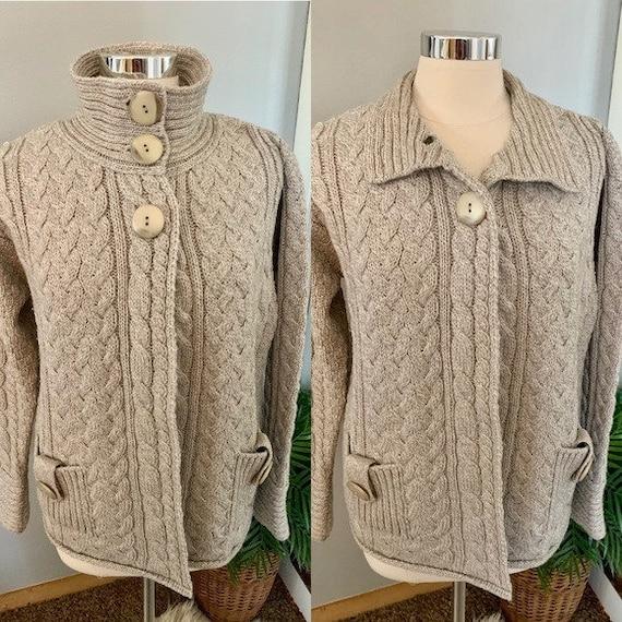 Women's Vintage Aran Crafts Cable knit cardigan Sw