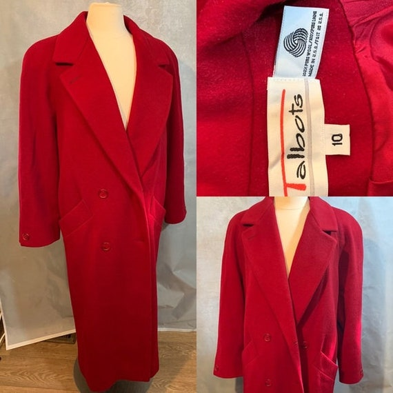 Vintage Long Deep Red Wool Overcoat Talbots Sz 10