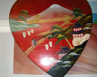 Vintage Japan ~ Lacquered Heart Valentines ~ Chocolates Box ~ Oriental Keepsakes ~ Love