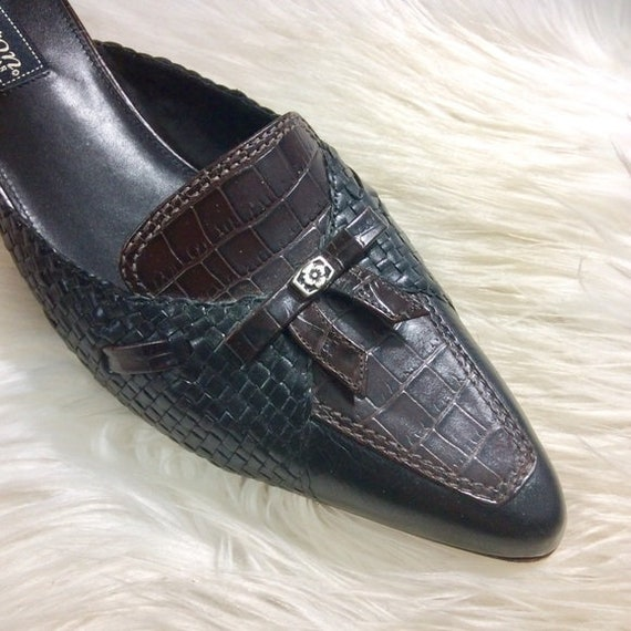 Brighton Mules Two Tone pointed toe Block Heel 9.… - image 4