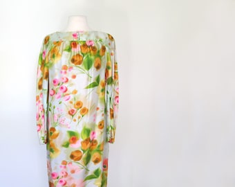 FULL BLOOM // 1960s watercolor floral silk saks fifth ave shift mini