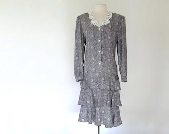 CONSUELA // 80s tiered ruffle dress