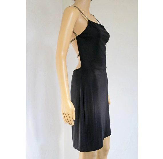 All That Black Strappy Backless 90s Party Dress S M Etsy