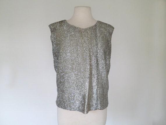 1960s silver lurex glitter blouse