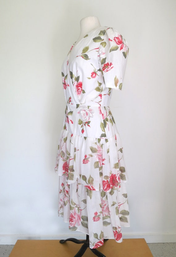1980s floral romantic tiered dress - image 3