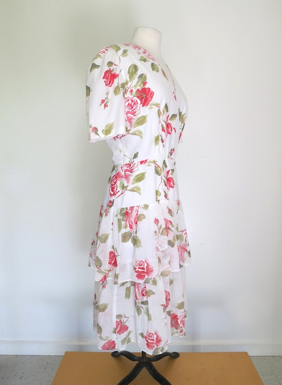 1980s floral romantic tiered dress - image 5