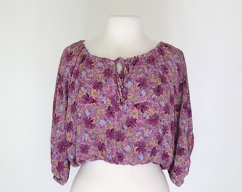PURPLE PEASANT // floral tie-neck adjustable 60s or 70s peasant blouse