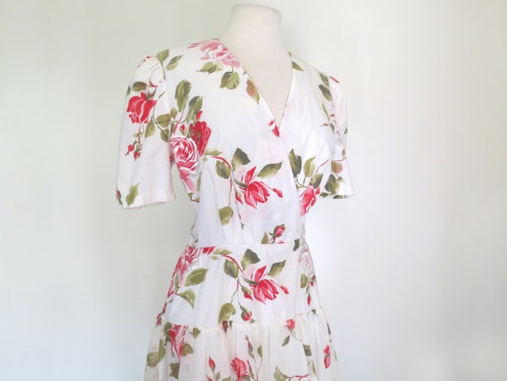1980s floral romantic tiered dress - image 2