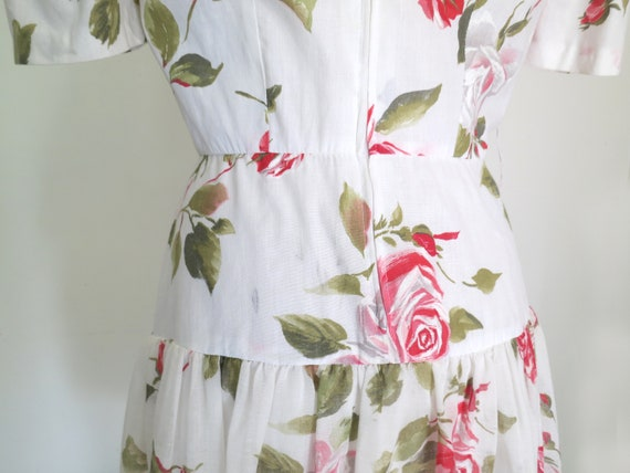 1980s floral romantic tiered dress - image 6