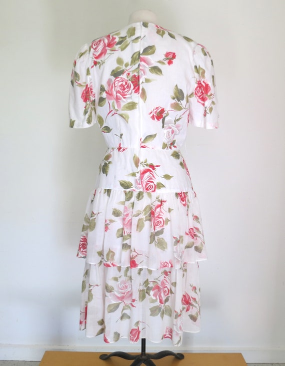 1980s floral romantic tiered dress - image 4