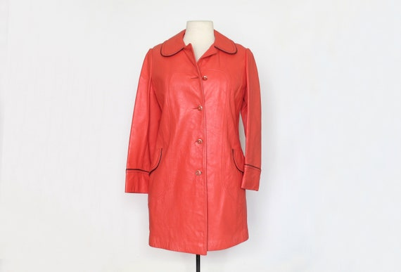 1970s Red Orange Leather Coat with Piping
