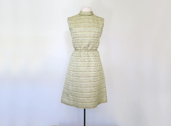 1960s mock neck metallic lurex mini dress