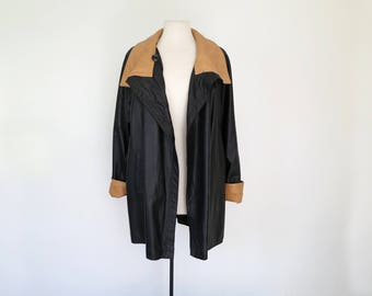 VERA PELLE // 1980s or 90s black and camel leather jacket