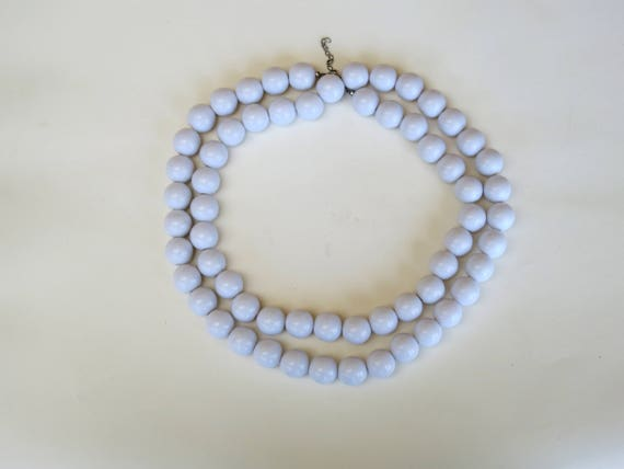 1960s mod extra long white necklace