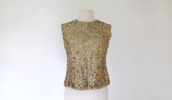 1960s gold lurex shell blouse with paillette sequi